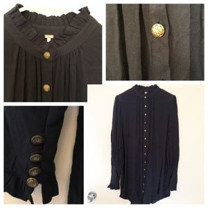Free People Sz XS Button Front Tunic Top Black 58
